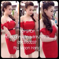 Đầm body bẹt vai đính nơ to tag Chanel